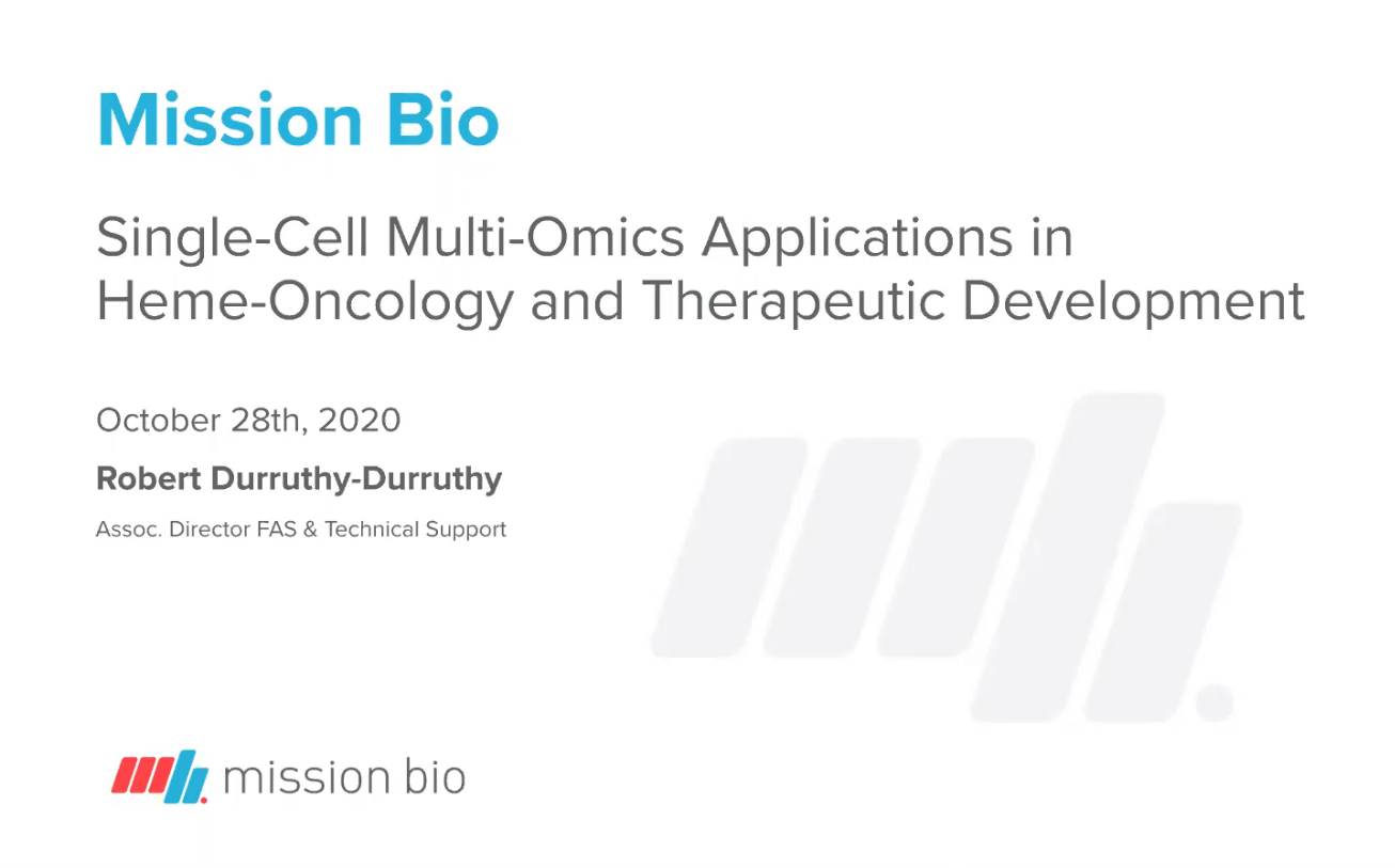 ICG-15 | Single-Cell Multi-Omics Applications in HemeOncology and Therapeutic Development